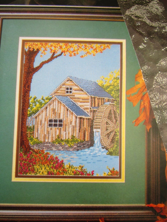 Two Counted Cross Stitch Patterns: Covered Bridge and Grist Mill