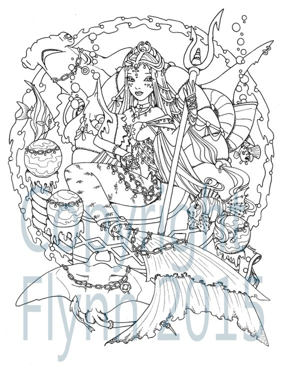 coloring pages detailed mermaids mermaid series 2 5 digital mermaid - Mermaid Coloring Pages Adults