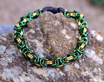 Loki Laufeyson, Marvel Comics, Avengers, Thor, Chainmaille Cat Collar, Gold and Green