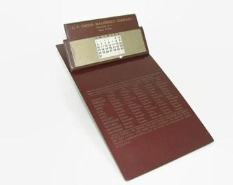 Perpetual Calendar 1952 to 1956, Brown Metal Clipboard, J. F. Owens Machinery, Vintage Advertising, Desk Organizer