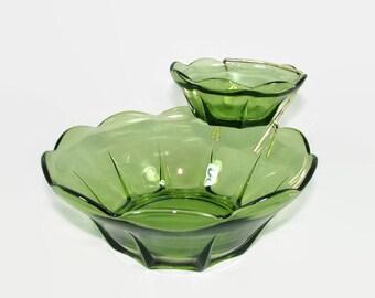 Anchor Hocking Green Glass Chip and Dip Set, Avocado Green Swedish Modern Serving Bowls