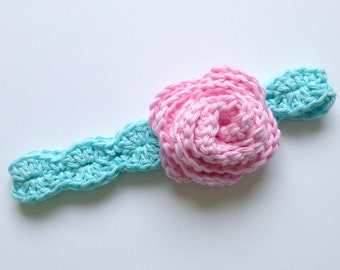 Pink and Blue Baby Headband - Knit Flower Headband - Crochet Baby Headband - Baby Girl Gift - Crochet Flower Headband - Blue Baby Headband
