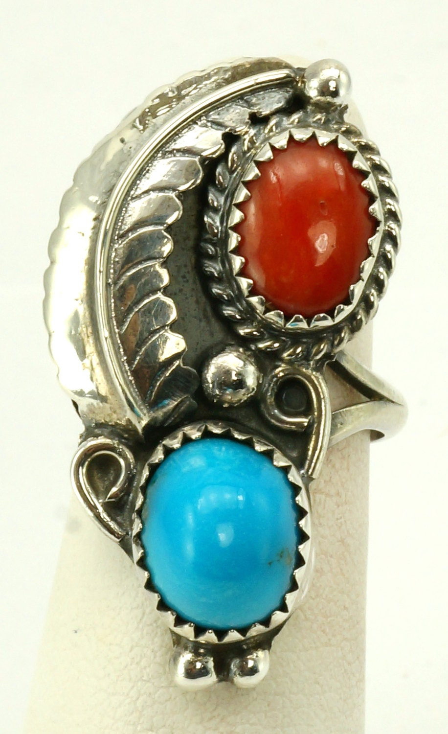 Native American Coral And Turquoise Ring