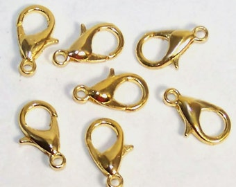 10 Gold Tone Lobster Clasps, Jewelry Findings, Supplies, Necklace, Bracelet Clasps Sassy Silks