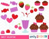 80% OFF SALE Valentine's Day Candy Love Hearts Sweets Cute Clip Art, Instant Download, Commercial Use
