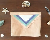 LAST ONE Sweet Peach leather handmade clutch purse lavender mint silver triangles southwest tribal lined clutch zipper ooak leftie pouch