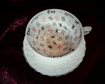 "Vintage Aynsley ""The Cup of Knowledge"" Fortune Telling Cup & Saucer Set, By Alfred Meakin, Made in England, Excellent Condition!"
