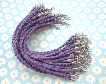 20 pcs 3mm 7 -9 inch adjustable purple faux braided leather bracelet with white k fitting