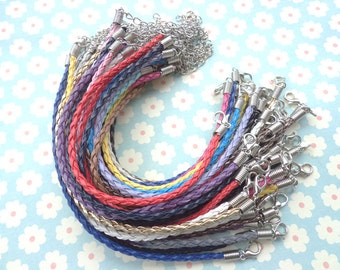 100pcs 3mm 7 -9 inch adjustable mixed colors  faux braided leather bracelet with lobster clasp