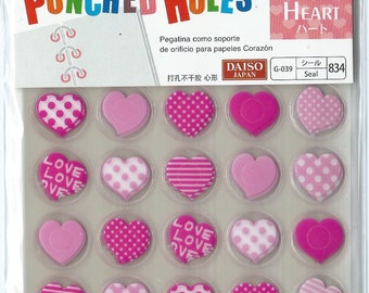 Binder Hole Reinforcement Stickers - seal for punched holes 280pcs (heart)