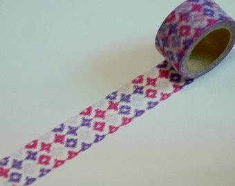 1 Roll of Japanese Washi Tape Roll- Purple and Pink Motifs