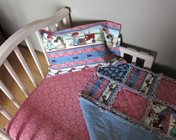 Toddler Bed CASE IH Baby Crib Bedding Set Rag Quilt By