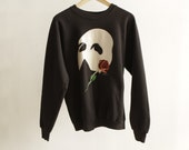 90s TRAGIC rose OPERA black sweatshirt vintage punk