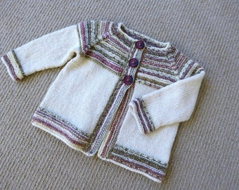 Knitted baby cardigan, baby girl striped sweater, 6 months baby, baby knitwear gift, hand knit baby clothes, cream baby cardigan, baby gift
