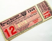One (1) Large Vintage Circus Ticket - 1 Old Illustrated Ringling Brothers Barnum & Bailey Circus Ticket from 1949 - Press Ticket