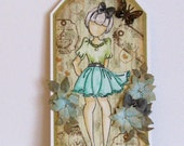 Julie Nutting Hand Watercoloured Doll Tag or Topper (Betty on green)