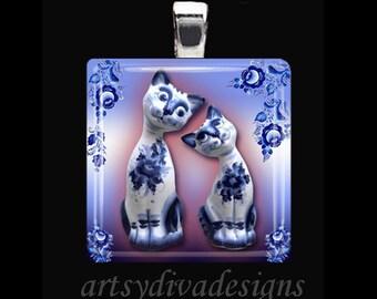 BEST FRIEND KITTIES Decorative Porcelain Cat Friends Cat Lover Glass Tile Pendant Necklace Keyring