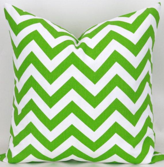 Lime Green Chevron Throw Pillow : Throw Pillow Cover Lime Green Chevron Pattern by DeliciousPillows