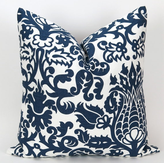 navy throw pillow cover accent pillow by deliciouspillows on etsy. Black Bedroom Furniture Sets. Home Design Ideas