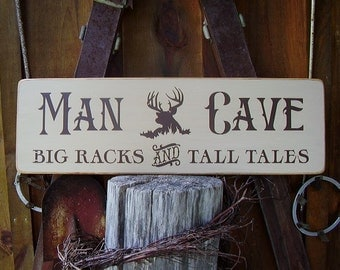 Wood Sign, Man Cave, Big Racks And Tall Tales, Deer, Hunting, Hunt Camp, Rustic, Handmade Word Art