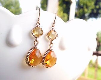 Orange and Yellow Earrings - Orange Dangle Earrings - Gold Filled Earwire - Orange Everyday Bridesmaid Earrings, Wedding Jewelry, Fall