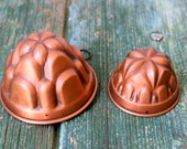 Decorative Italian small copper pudding moulds