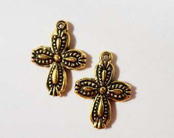 Gold Cross Charms 17x12mm Antique Gold Metal 2 Sided Cross Charm Pendant Religious Christian Charms Catholic Charms Jewelry Making 10pcs