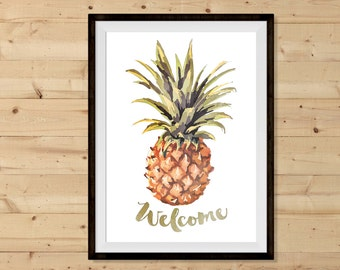 Welcome Pineapple Printable - INSTANT DOWNLOAD