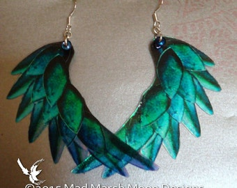 Dragon Scale Wing earrings, Teal, iridescent with sterling silver ear wires, latch back and clip on version available