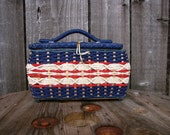 Vintage Red White and Blue Sewing Basket