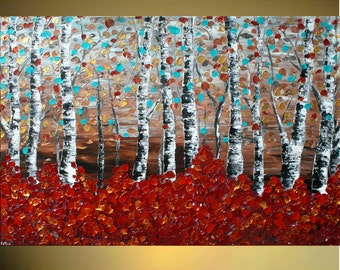 Original Modern   Birch Forest   Heavy Impasto Texture    Palette Knife  Acrylic    Painting. Made2Order.