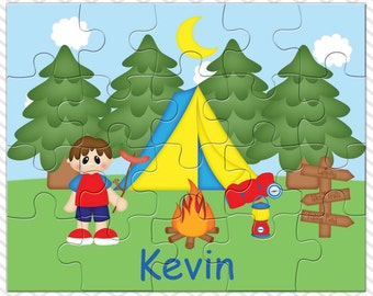 Camping Boy Personalized Puzzle, Personalized Camping Puzzle, Personalized Kids Puzzle