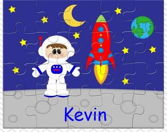 Space Astronaut Boy Personalized Puzzle, Personalized Astronaut Puzzle, Personalized Kids Puzzle