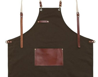 Premium Gift for woman and man Chef Works Handmade Apron Japanese Cross Back - Roco real cow leather Apron Dark Brown