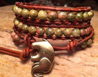 Unakite - Leather Wrap Beaded Bracelet