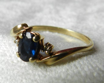 Sapphire Engagement Ring Genuine Blue Sapphire Vintage Ring Genuine Diamond 10K September Birthday
