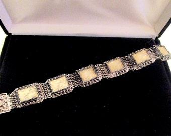 ANTIQUE CHINA  EXPORT Schrimshaw Fine Silver 800 Filigree Panel Link Bracelet