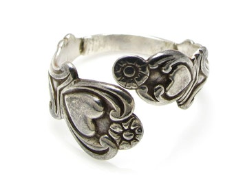 Silver Plated Spoon Heart Wrap Ring - Size 10.5 - Antique Spoon Ring - Silver plated - Adjustable Ring - Weight 4.8 Grams # 425