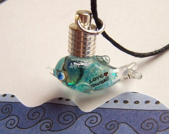 LOVE YOURSELF Dolphin Name On Rice Grain Glass Pendant Vial Real Dried Flowers Glitter Ocean Marine  Liquid Necklace Sorority Sister Gift