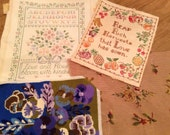 Lot of 4 unframed vintage needlepoint & crewel embroidery pieces - floral quotes