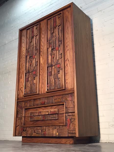 Lane Brutalist Mid Century Modern Armoire Dresser Chest