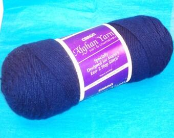 Caron Afghan Bundle Yarn - Navy Blue - 7 oz Skein, 3 Ply Worsted Weight Acrylic Yarn - DESTASH