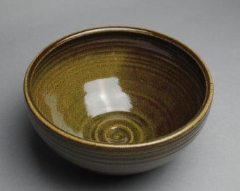 Clay Bowl Serving Olive Green and Cranberry B39
