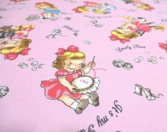 Japanese Fabric Pretty Little Girl Sewing Knitting Pink  Fat Quarter