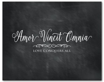Amor Vincit Omnia - Love conquers all - Latin Typography Print - Anniversary Gift - Wedding Gift  - Quote - Wall Decor - inspirational print