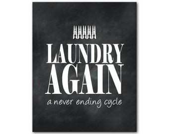 Laundry Room Wall Art - Typography print - Laundry Again - a never ending cycle - clothes pins - vintage chalkboard distressed - Word Art