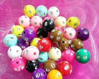 Bling Beads-Acrylic Beads-Bulk Beads-Wholesale Beads-8mm-100pcs Assorted Colors