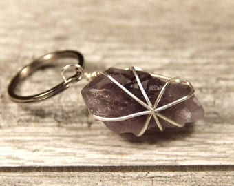 A. Wire Wrapped Amethyst Crystal Keychain