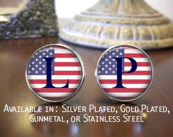 SALE! Personalized Cuff Links - U.S. Flag - Groomsman Cufflinks