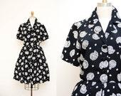 Vintage 90s Black & White Seashell Print Dress / Short Sleeves Cocktail Dress / Size MED